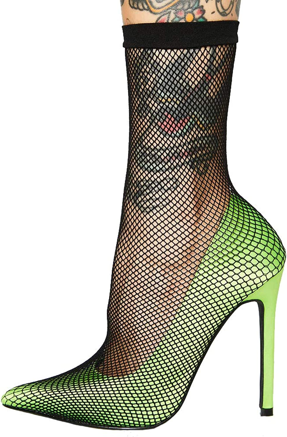 Themost Women's High Heel Pumps Sexy Fishnet Stockings Sandal Sharp Toe Stiletto Heels Pump Dress Party shoes