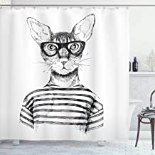 Ambesonne Cat Shower Curtain, Hand Drawn Dressed up Hipster New Age Cat Fashion Urban Free Spirit Artwork Print, Cloth Fabric Bathroom Decor Set with Hooks, 75 Long, Gray White