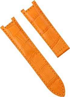 LEATHER WATCH BAND STRAP FOR CARTIER PASHA 2308 2324 2377 2475 WATCH 18MM ORANGE