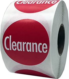 Red Clearance Labels for Retail 1 1/2 Inch 500 Adhesive Stickers