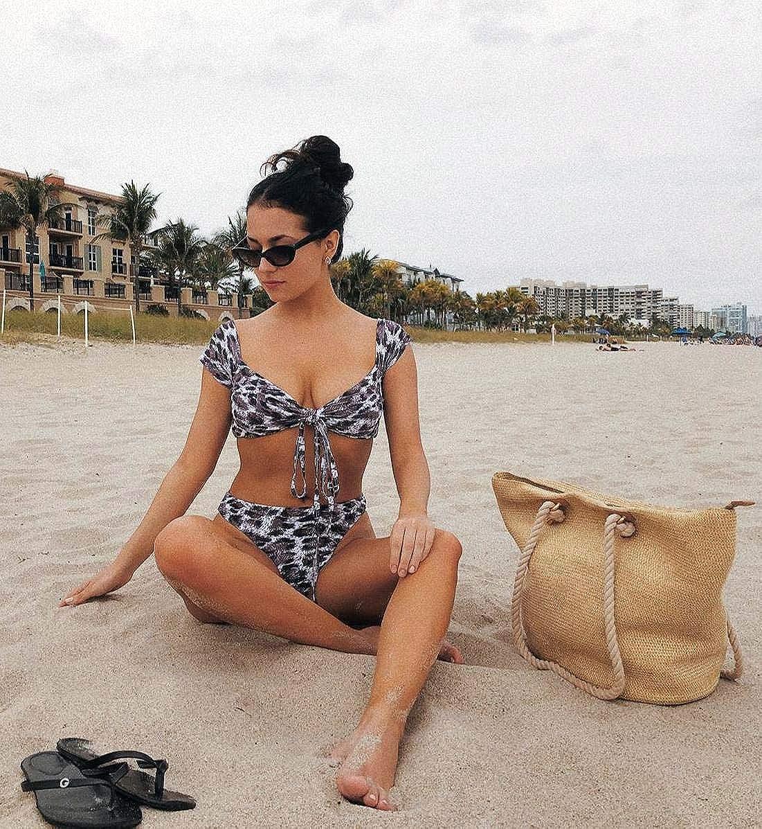 PRETTYGARDEN Women's Two Pieces Leopard Print Knot Front Crop Off-Shoulder High Cut Bandeau Bikini Sets Bathing Suit
