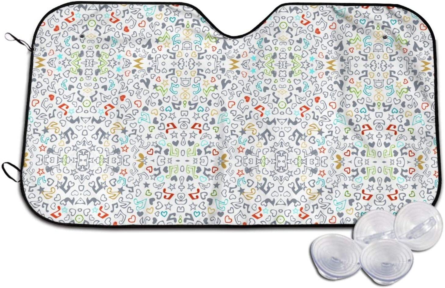 Colourful Pattern with Deluxe Detroit Mall Music Notes Sunshade Car 16 Windshield