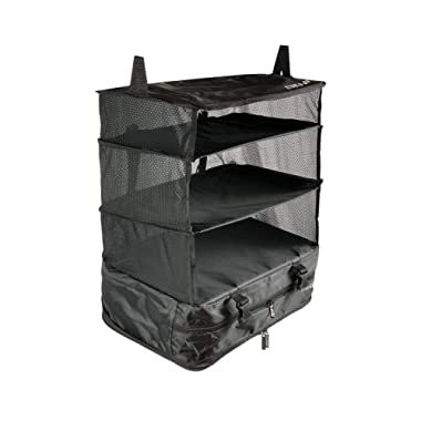 Stow-N-Go Travel Luggage Organizer and Packing Cube Space Saver With Built In Hanging Shelves and Laundry Storage Compartment. Save Room In Suitcases, Reduce Wrinkles and Never Unpack Clothes Again
