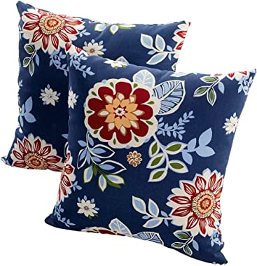 Quality Outdoor Living 29-BF02PW Decorative Throw Pillow (Set of 2), 2 Count (Pack of 1), Blue Floral