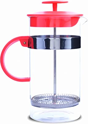French Coffee Press, Great Quality Glass with Stainless Steel Filter System: Large 1-Liter, 34 oz, for Coffee, Tea, Espresso in Exciting, Bold Red