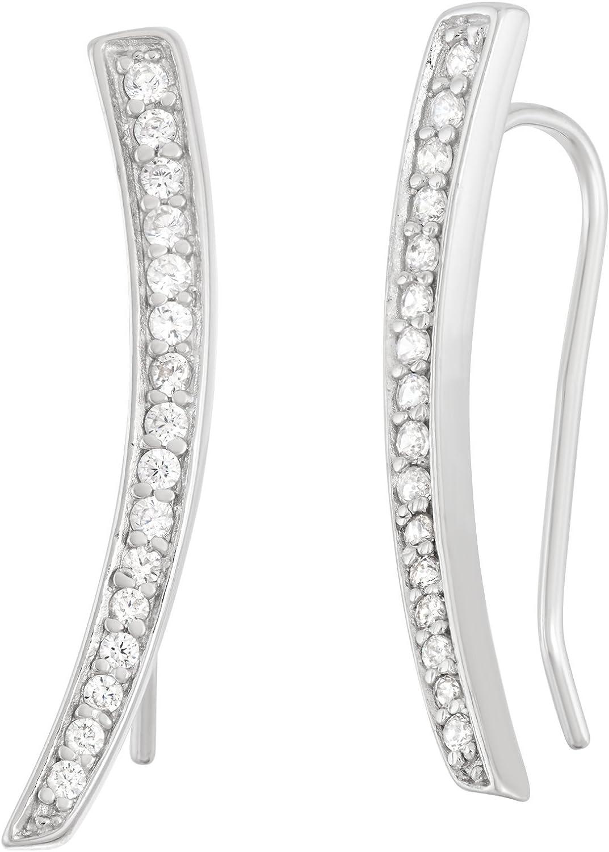 Beaux Bijoux Sterling Silver 925 CZ Ear 5% SALENEW very popular! OFF Bar Climber Crawl Curved