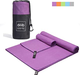 dilib 2 Pack Microfiber Towel Sets,Quick Dry Sports Travel Towel,Camping Towel - M&XL 2 Size,Super Absorbent&Lightweight,Fast Drying,Perfect for Camping,Gym,Beach,Swimming,Backpacking