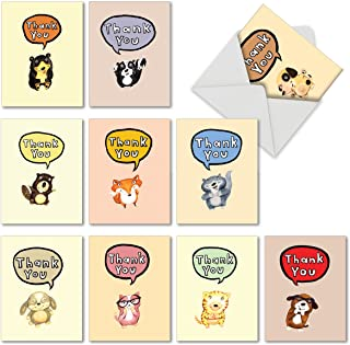 10 Adorable 'Fuzzy Tummies' Thank You Cards with Envelopes - Cartoon Animal All Occasion Greeting Cards - Bulk Stationery for Baby Showers, Birthdays, Thanksgiving 4 x 5.12 inch M6627TYB