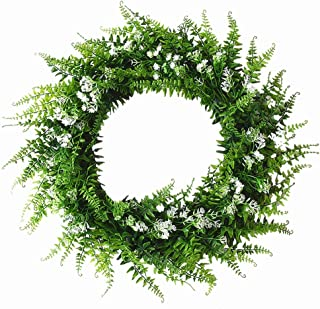 Babies Breath Mixed Fern Wreath,Artificial Fern Base-UV Resistant Greenery Wreath with Gypsophila Artificial Flowers for Front Door, Wall Decor,14 inches
