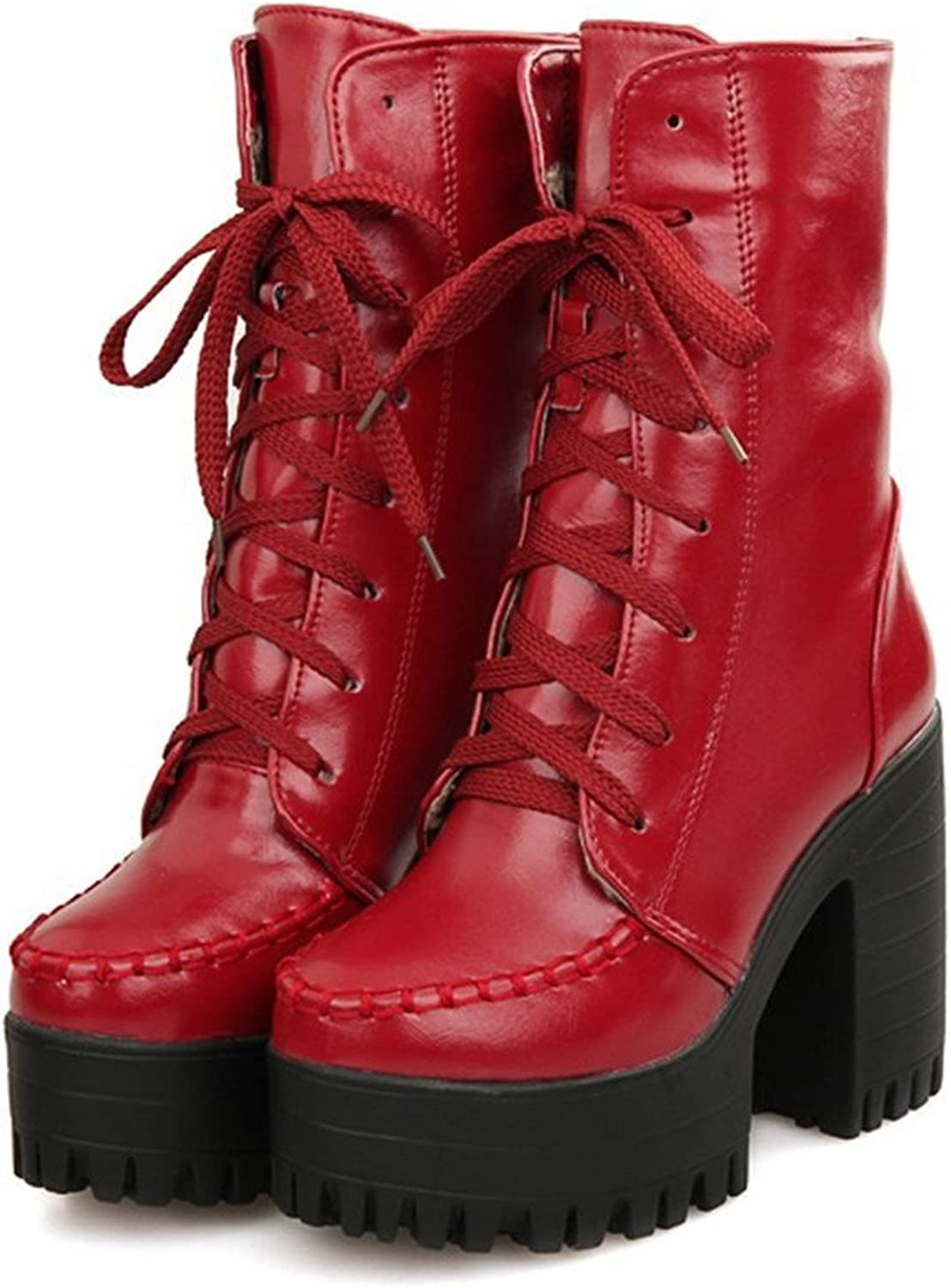 Dahanyi Breathable Womens Round Toe Lace Up Platform High Chunky Heels Mid-Calf Casual Boots (M) US Red Fashion