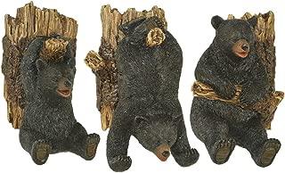 Set of Three Resin Black Bear on Logs Wall Hooks -Lodge Decor