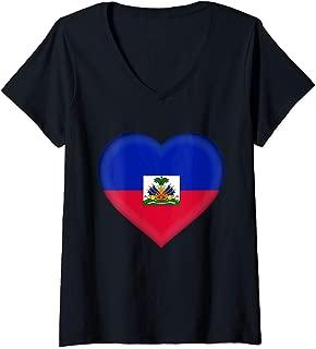 Womens I Love Haiti Design   Haitian Flag Heart Outfit V-Neck T-Shirt