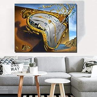Reloj de arte abstracto posmoderno de Salvador Dali lienzo impreso arte pintura cuadros de pared para sala de estar decora...