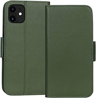 """FYY Case for iPhone 11 6.1"""", Luxury [Cowhide Genuine Leather][RFID Blocking] Wallet Case, Handmade Flip Folio Case Cover with [Kickstand Function] and[Card Slots] for Apple iPhone 11 6.1"""" Green"""