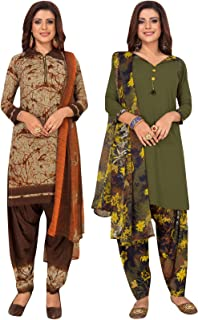S Salwar Studio Women's Pack of 2 Synthetic Printed Unstitched Dress Material Combo-MONSOON-2858-2871