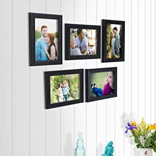 Art Street and Painting Mantra Happy Memory Set of 5 Individual Photo Frame/Wall Hanging for Home Décor - Black