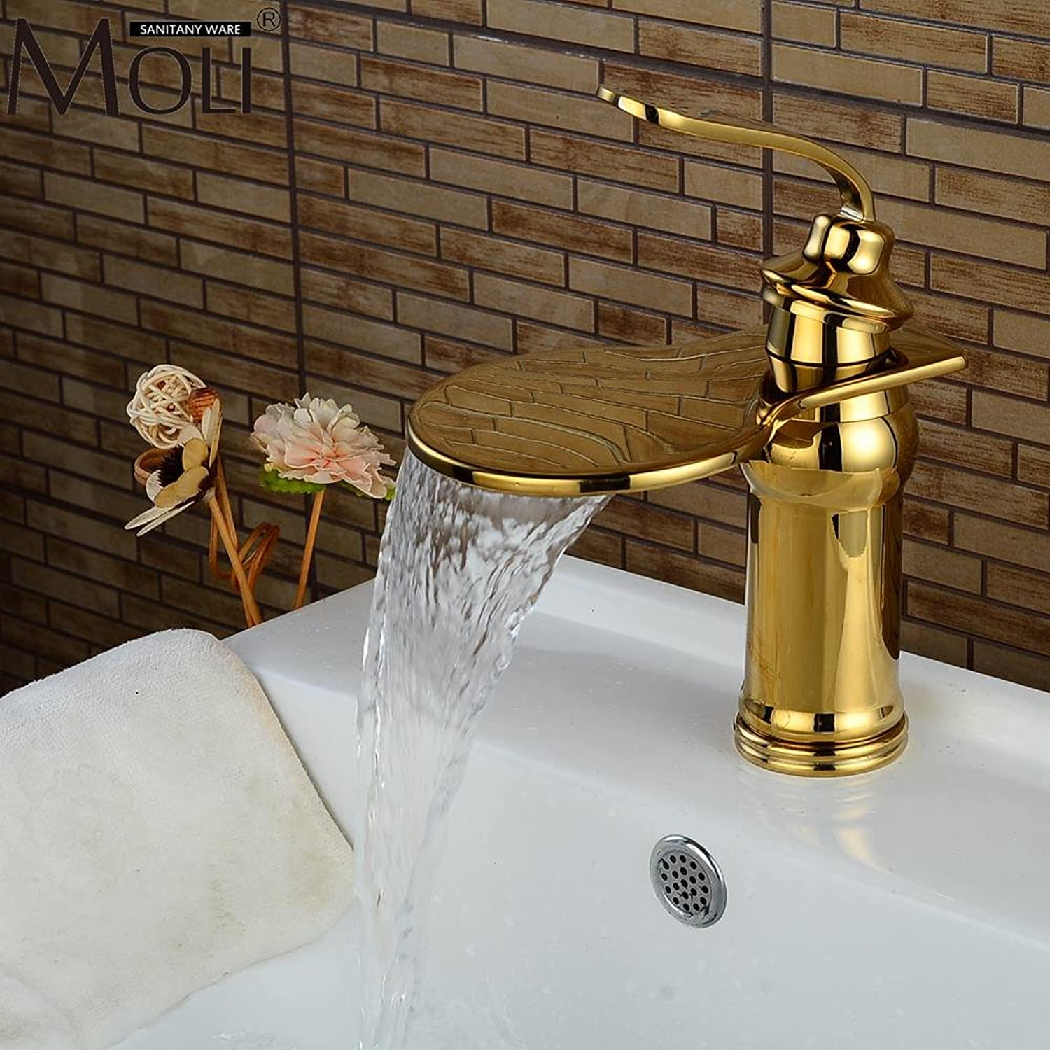 Retro Deluxe FaucetingLuxury Waterfall gold Bathroom Sink Faucet Hot And Cold Water Mixer Tap Copper Basin Sink Faucets