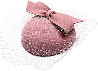 الوردي الصوف أنيق فيلت فيدورا قبعة للنساء كنيسة الزفاف امرأة قبعة الإناث الحجاب مع القوس أزياء الطفل فيدورا الفتيات