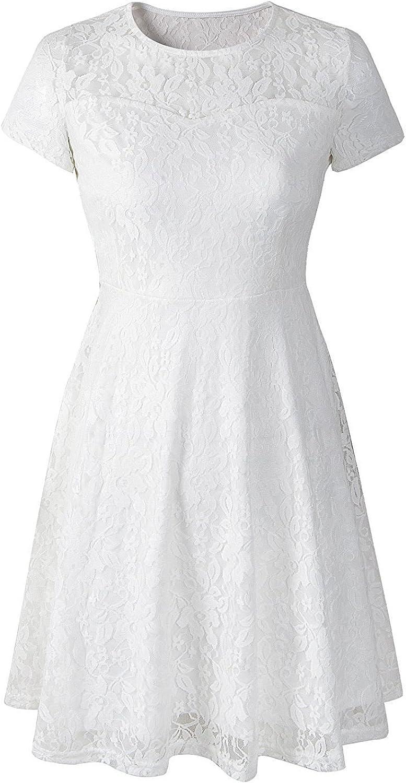 PHSFUBEL Round Neck Short Sleeves Lace Dresses Women Girls Knee Length Cocktail Prom Dresses