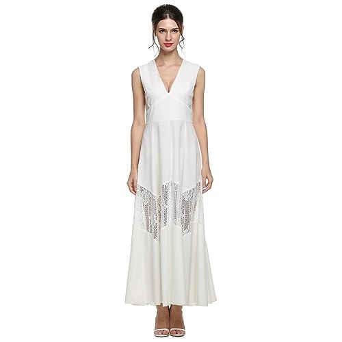 ANGVNS Evening Dress Women V-Neck Lace Patchwork Sleeveless Chiffon Maxi  Dress 28d82f873997