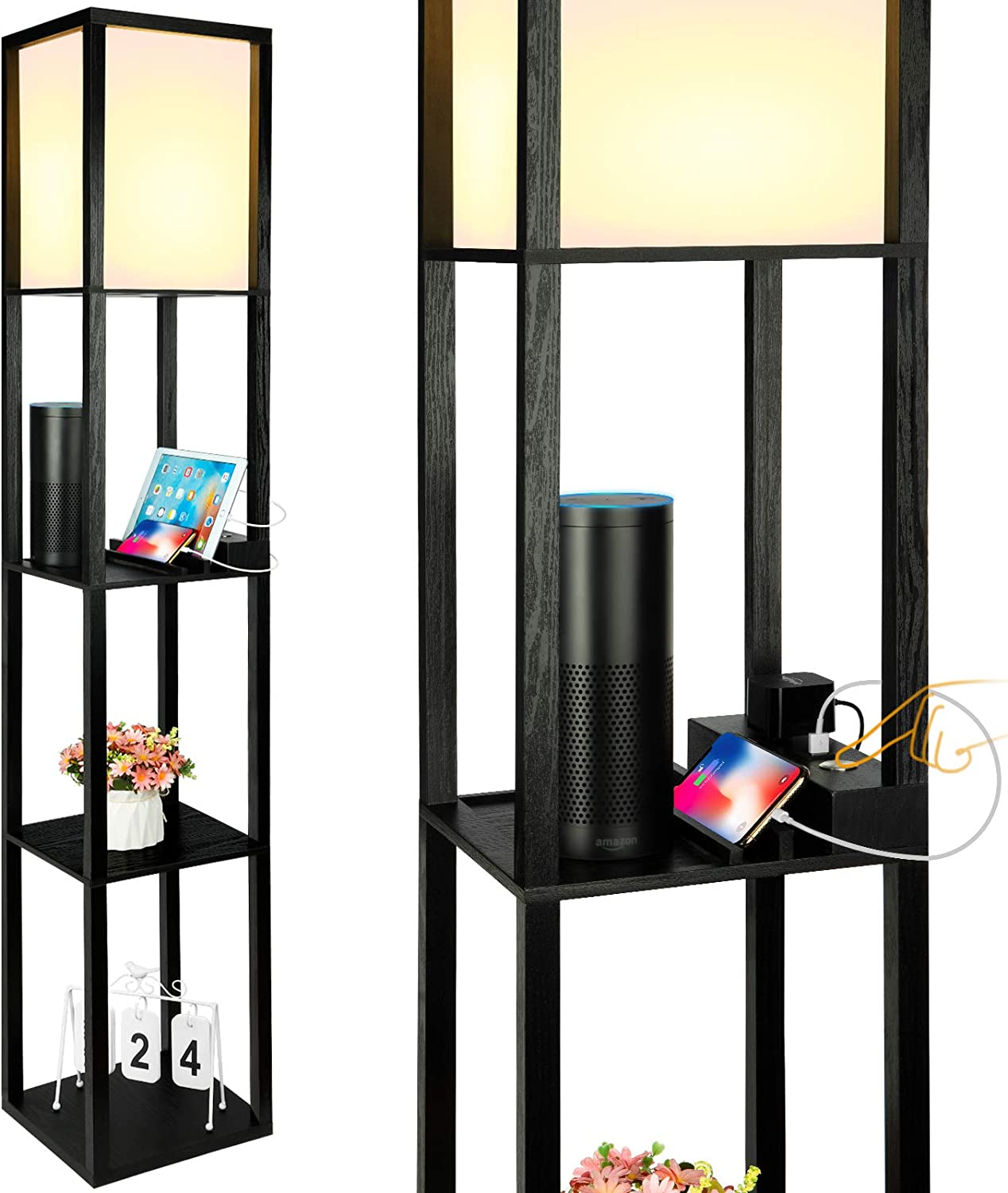 3-Way Dimmable Shelf Floor Lamp with USB Charging Ports and Power Outlet, Shelves & Storage Modern Standing Light for Bedroom, Living Room, Corner Tower Nightstand Table Floor Lamps-Black