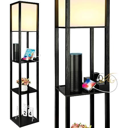 Modern PVC Floor Lamp with 3 Display Storage Shelves for Living Room /&Bedroom