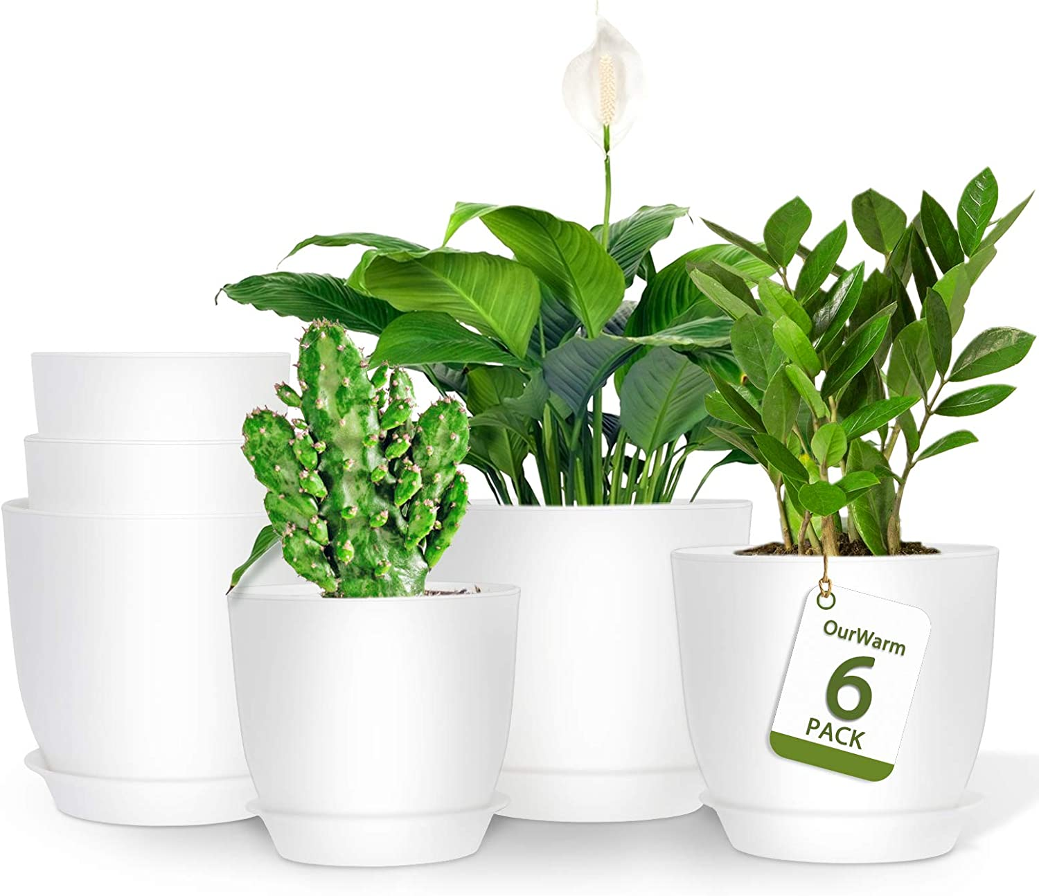 OurWarm 6 Pack Regular store Plastic Planter with 6.2 5.5 Inch Wh Saucers 4.9 Max 47% OFF