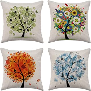 WFLOSUNVE Seasons Tree Decorative Throw Pillow Covers 18x 18 Set of 4, Faux Linen Spring/Summer/Autumn/Winter Pillow Case Cushion Cover for Bed and Couch