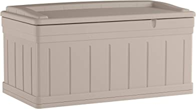 Suncast 129 Gallon Patio Storage Box - Large Water Resistant Outdoor Storage Container for Patio Furniture, Pools Toys, Yard Tools - Store Items on Deck, Porch, Backyard - Taupe