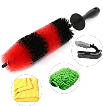 RIDE KINGS Car Wheel Cleaning Brush Kit (Pack of 4), Wheel and Rim Detailing Brush 16 inch, Soft Bristle Car Cleaning Tire...