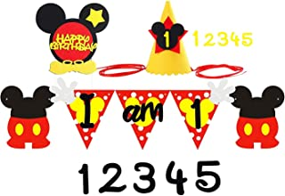 PANTIDE Mickey Mouse Birthday Party Supplies Party Decoration Kit,1st Felt Garland Birthday Party Banner with Party Hat and Cake Topper, Mickey Mouse Inspired Decoration Supplies for 1-5 year old Kids