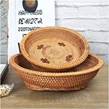MAHFEI Round Woven Bread Roll Basket, Pastoral Style Snack Storage Basket Set Rattan Hand Woven Fruits Bowl Container Tray...