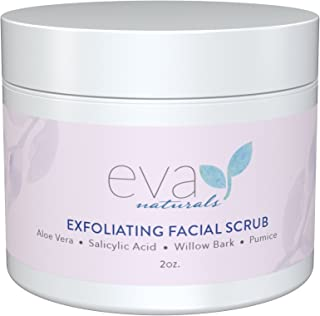 Eva Naturals - Exfoliating Facial Scrub - Helps Reduce Acne, Pores, Blackheads, Dead Skin Cells - 2 oz.