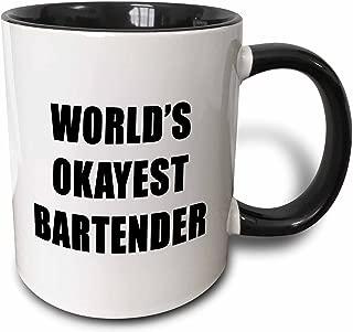 3dRose 221114_4 Worlds Okayest Bartender Two Tone Black Mug, 11 oz