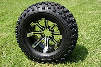 "JZM 12"" Machined & Black Tempest Golf Cart Wheel and All Terrain Tire Combo- Set of 4"