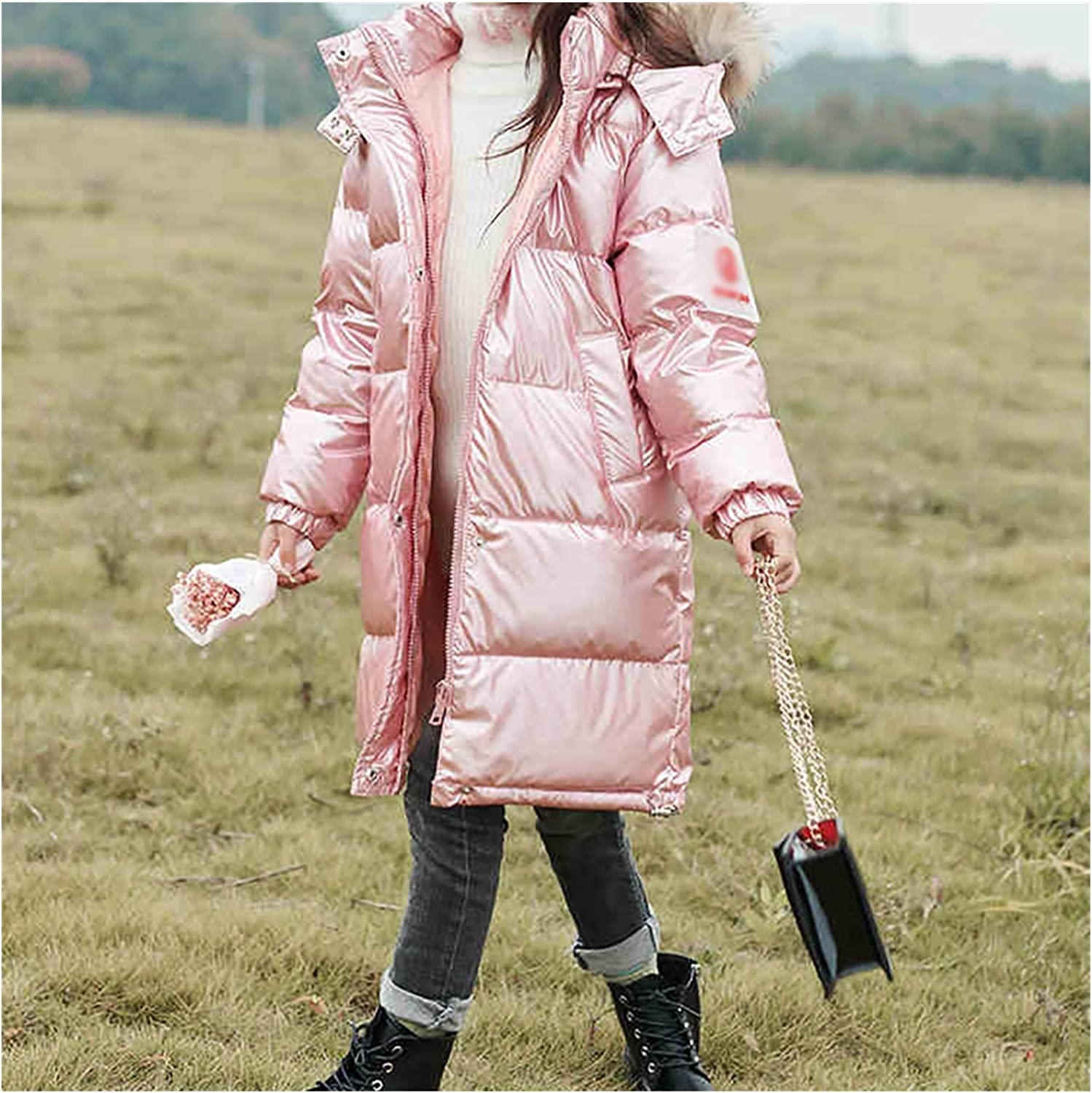 Kid Clothes Girls' Parkas Puffer Down Coat Warm Outwear Winter Thicken Zip Coat Jacket with Faux Fur Trim Hood Skin Friendly (Color : Pink, Size : Large)