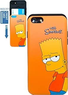 [iPhone 7 Wallet Case/iPhone 8 Wallet Case] KUBRICK Card Holder Slide Cover Simpson Animation Bumper Phone Case Dual Layer Protection UV Printing (Bart Simpson)