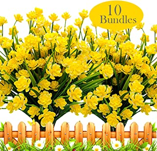 Grunyia Artificial Flowers Outdoor UV Resistant Fake Plants Indoor Outside Hanging Planter Home Garden Decor, 10 Bundles (Yellow)