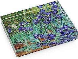 Dynasty Gallery Deskpop Handcut Crystal Paperweight with Felt Bottom Van Gogh Irises 51105IRIS 4 Inches x 2.6 Inches