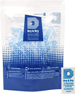 Dry & Dry 0.5(Half) Gram [250 Packets] Premium Pure & Safe Silica Gel Packets Desiccant Dehumidifier - Food Safe(FDA Complliant) Silica Packets for Moisture
