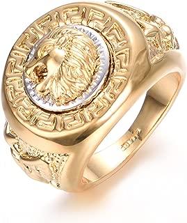 18K Punk Hip Pop Lion Signet Ring for Men Cool Vintage Silver Plated Ring