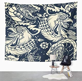Eriesy Tapices Tapiz Wall Tapestry Old School Snake and Rooster Head Tattoo Tapestry Wall Hanging Home Decorations Mysterious For Bedroom Home 150x200cm
