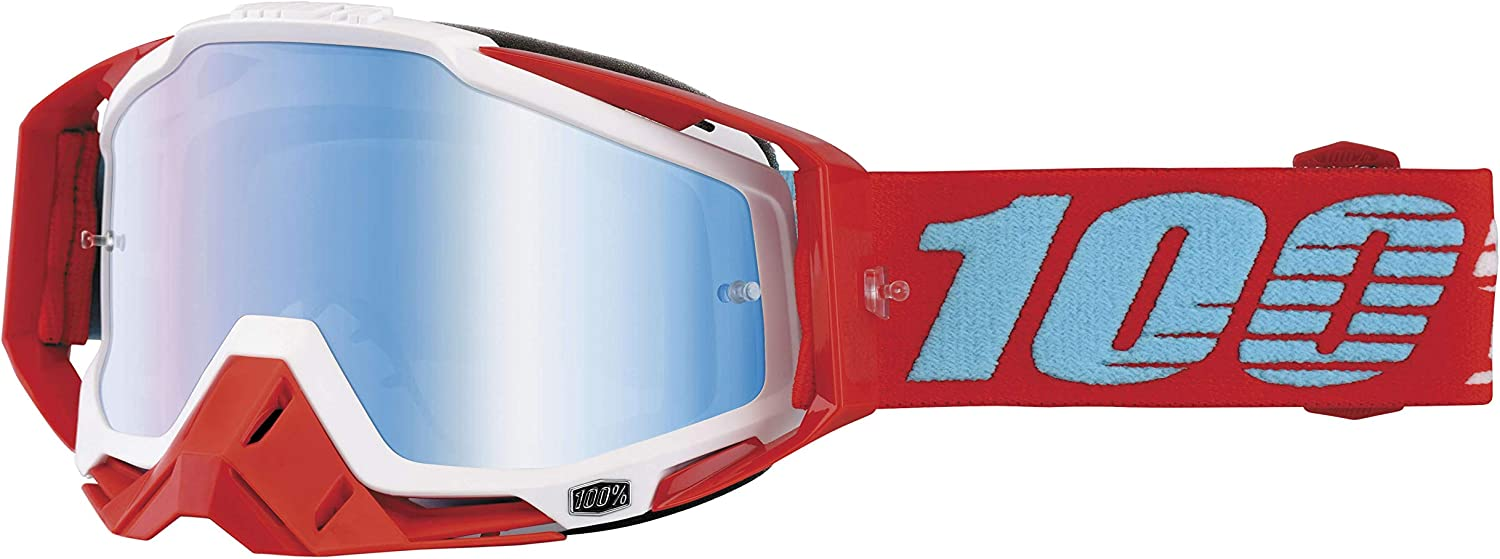 100% UnisexAdult Kepler Racecraft MX Motocross Goggles With Mirrored Lens (Red,One Size Fits Most)