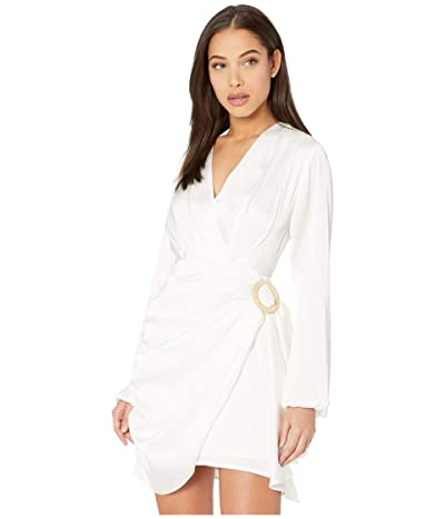 WAYF Attina Wrap Long Sleeve Mini Dress (Ivory) Women