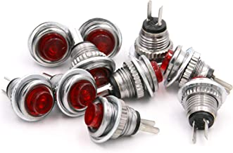 RuoFeng Red Metal Push Button Switch 2 Pin 8mm Panel Mount SPST Momentary Switch 1A 125V AC Pack of 10pcs