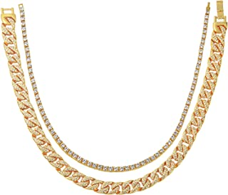 2 Pack Cuban Chain Iced Out Cuban link Miami Choker Mens Iced Out Hip Hop Gold Tone Necklace 20 Inch & 14k Gold Plated Simulated Diamond Iced Out Chain Men's Hiphop Tennis Necklace 18 Inch (2 pack)