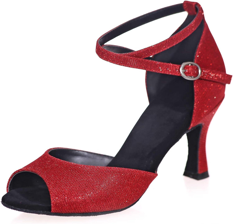 LLBubble Kitten Heels Satin Ballroom Dance shoes Women Peep Toe Ankle Buckle Latin Dance Party Dress shoes 8349-01 A