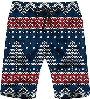 Winter Holiday Knitted Christmas Holidays Mens Boardshorts Swim Trunks Quick-Drying Running Shorts