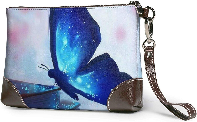 Popular overseas Blue Butterfly Clutch Purses Purs Jacksonville Mall Wristlet Wallet Leather