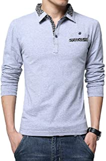 Howely Men Big & Performance Stitch Tall Tops Fleece Long Sleeve Polo Shirts